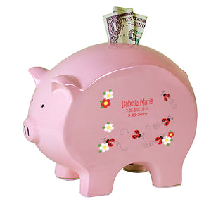 Pink Piggy Bank - Red Ladybugs