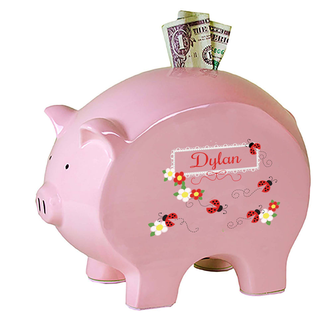 Personalized Pink Piggy Bank with Red Ladybugs design