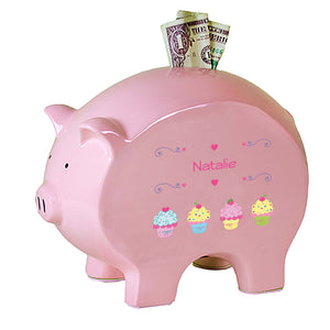 Personalized Pink Piggy Bank with Cupcake design