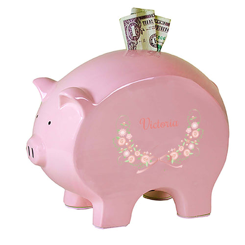 Personalized Pink Piggy Bank with Blush Floral Garland design