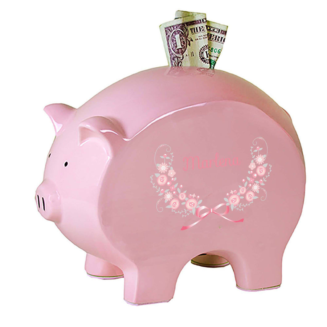 Personalized Pink Piggy Bank with Pink Gray Floral Garland design