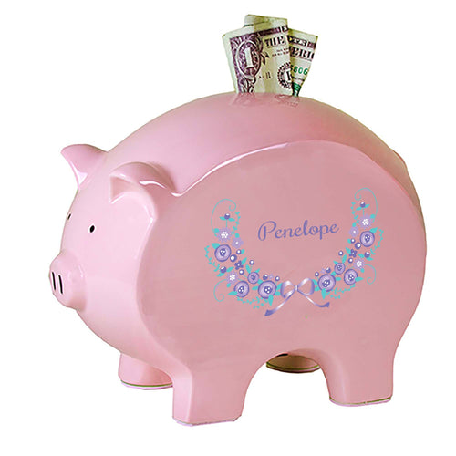 Personalized Pink Piggy Bank with Lavender Floral Garland design