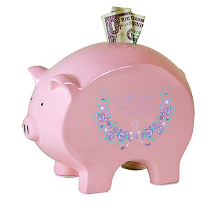 Pink Piggy Bank - Lavender Floral Cross