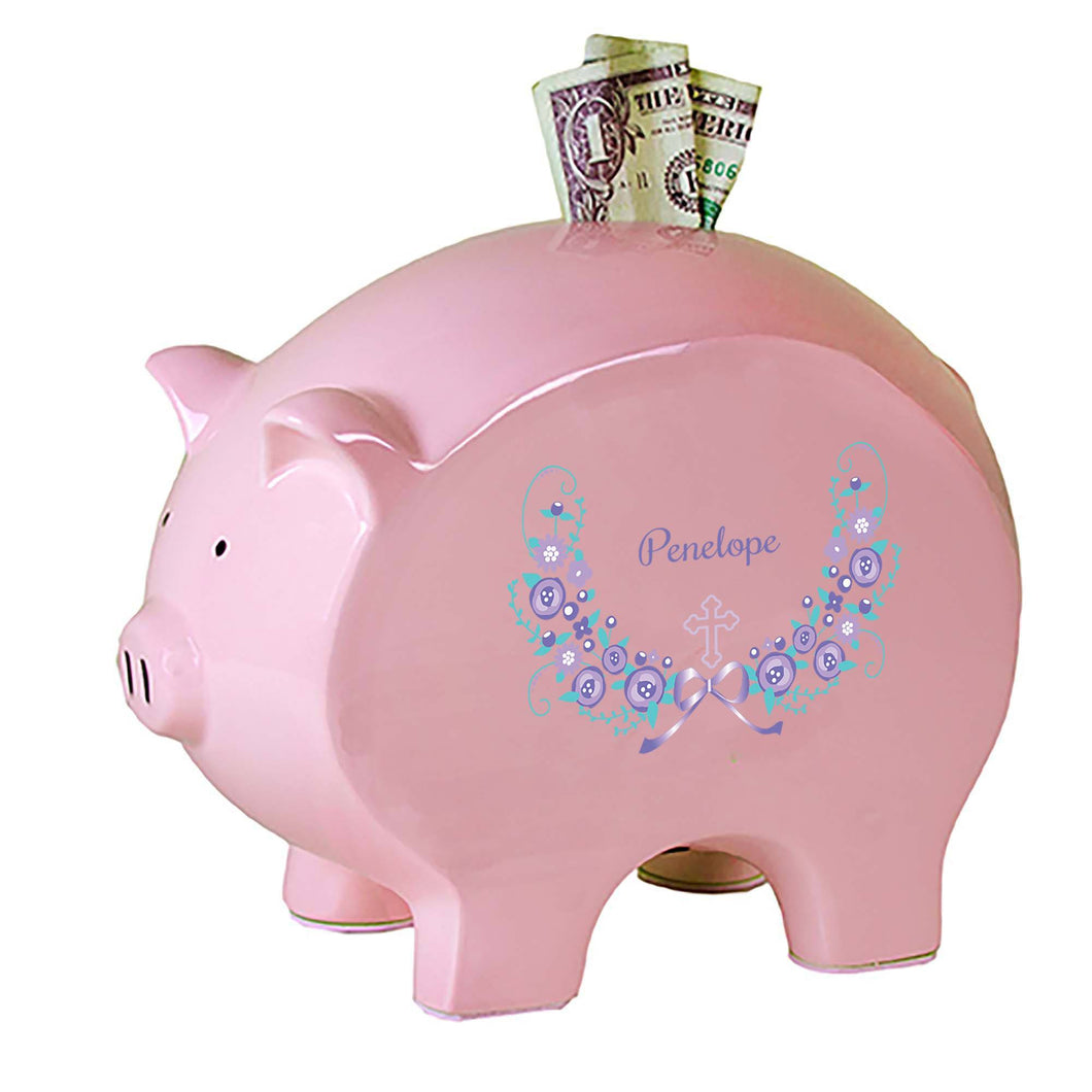 Personalized Pink Piggy Bank with Hc Lavender Floral Garland design