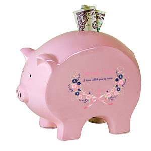 Personalized Baptism Pink Navy Blue Floral Flat Piggy Bank