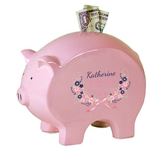 Pink Piggy Bank - Navy Pink Floral Cross