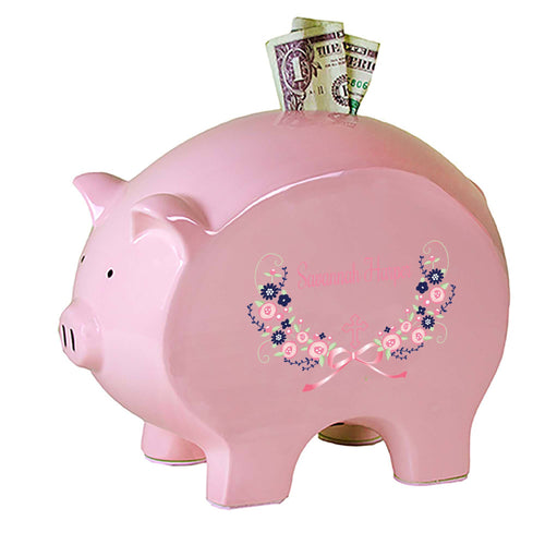 Personalized Pink Piggy Bank with Hc Navy Pink Floral Garland design