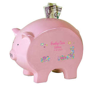 Personalized Pink Piggy Bank - Groovy Swirl