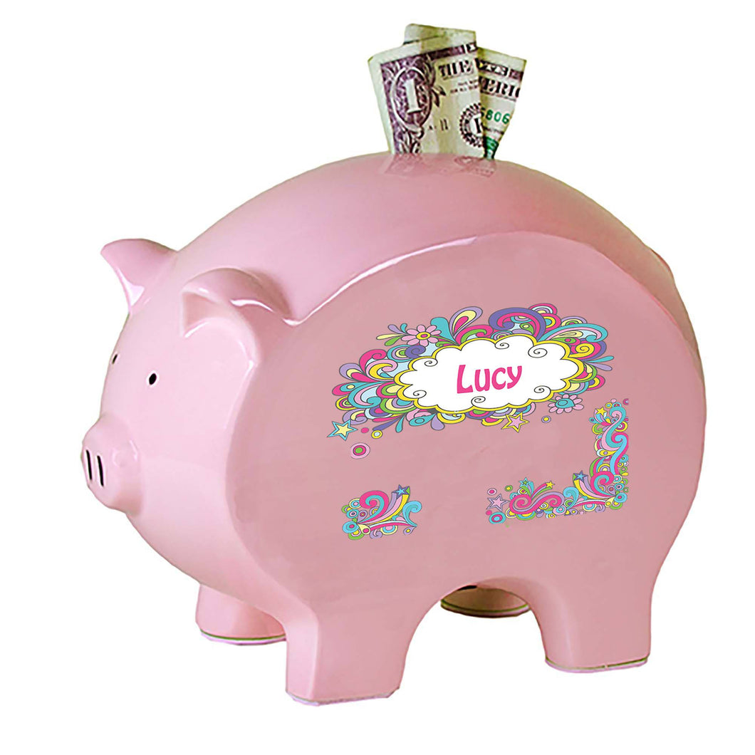 Personalized Pink Piggy Bank with Groovy Swirl design