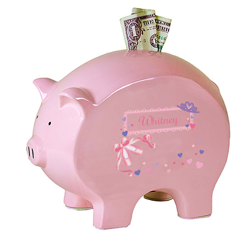 Personalized Pink Piggy Bank with Ballet Princess design
