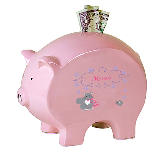 Personalized Pink Piggy Bank with Kitty Cat design