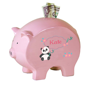 Personalized Pink Piggy Bank with Panda Bear design