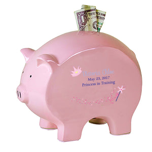 Personalized Pink Piggy Bank - Fairy Princess