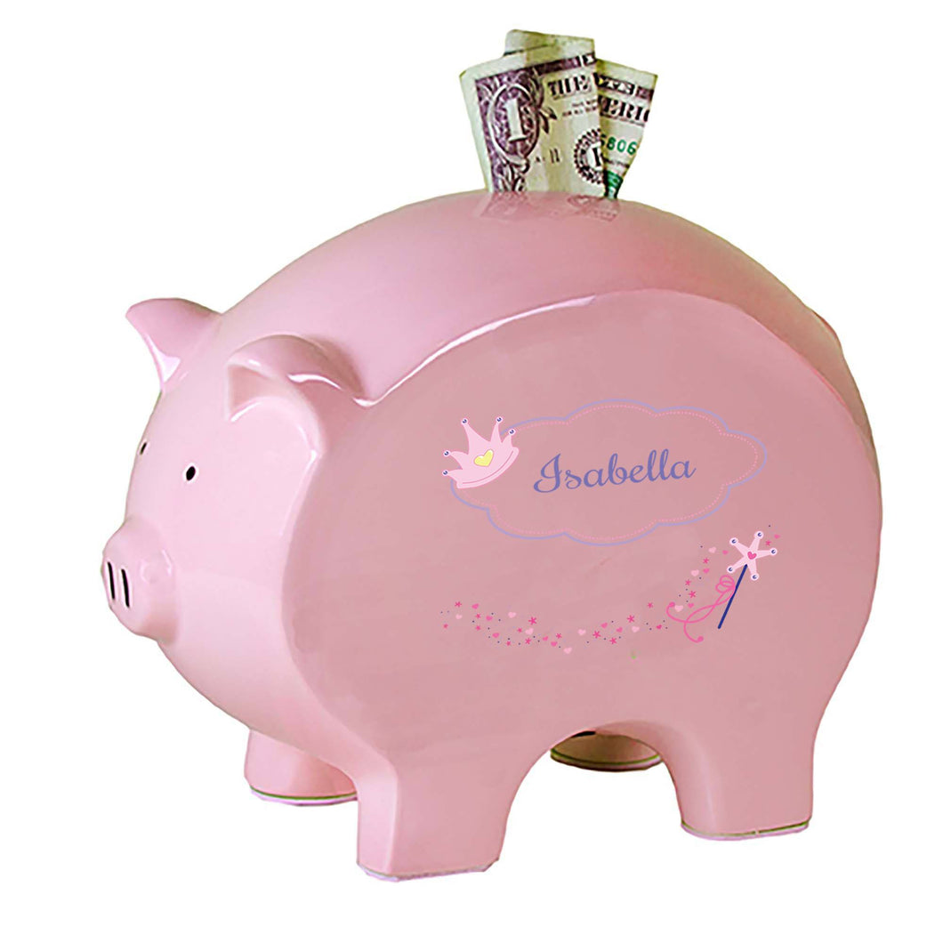 Personalized Pink Piggy Bank with Fairy Princess design