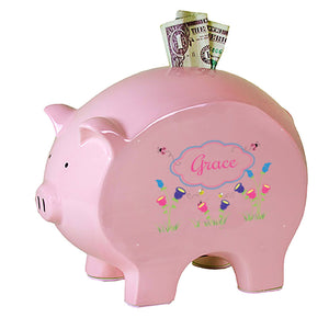 Personalized Pink Piggy Bank with English Garden design