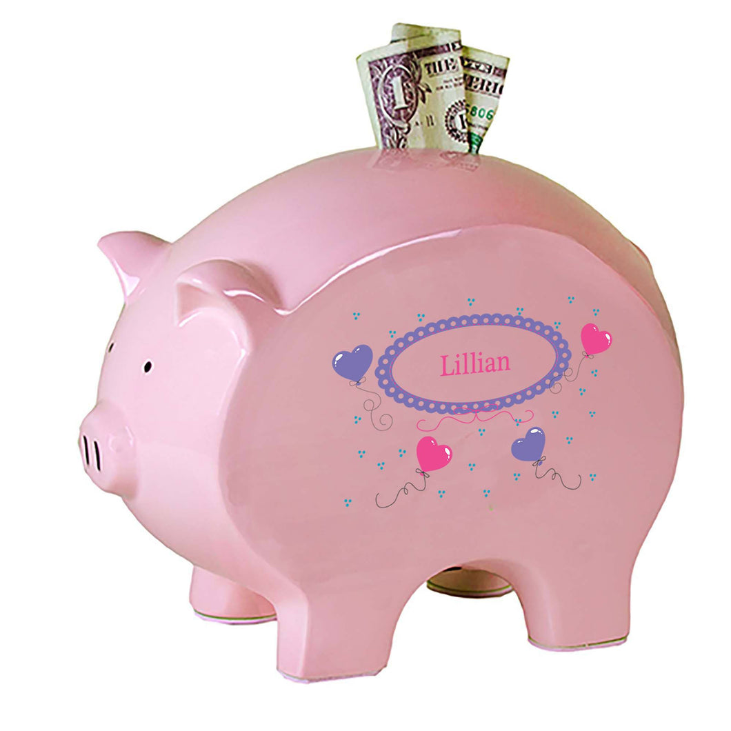 Personalized Pink Piggy Bank with Heart Balloons design
