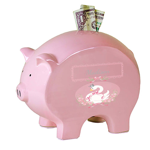 Personalized Pink Piggy Bank with Swan design