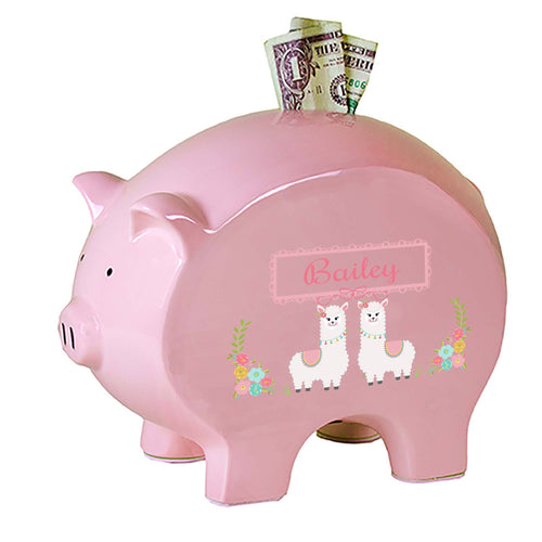 Personalized Pink Piggy Bank with Alpaca Llama design