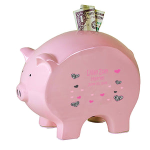 Personalized Pink Piggy Bank - Groovy Zebra