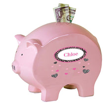 Personalized Pink Piggy Bank with Groovy Zebra design