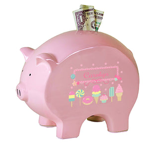Personalized Pink Piggy Bank with Sweet Treats design