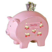 Personalized Pink Piggy Bank with Strawberries design