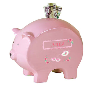 Personalized Pink Piggy Bank with Tea Party design