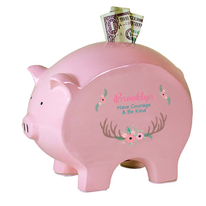 Personalized Pink Piggy Bank - Floral Antler