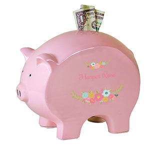 Personalized Pink Piggy Bank with Spring Floral design