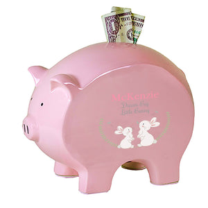 Personalized Pink Piggy Bank - Classic Bunny