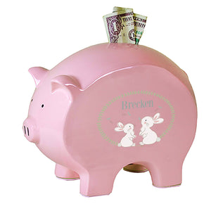 Personalized Pink Piggy Bank with Classic Bunny design