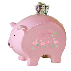 Personalized Pink Piggy Bank with Palm Flamingo design