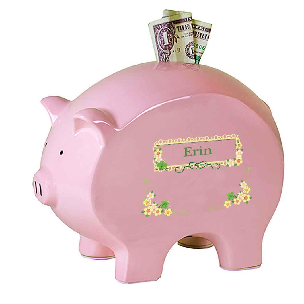 Personalized Pink Piggy Bank with Shamrock design