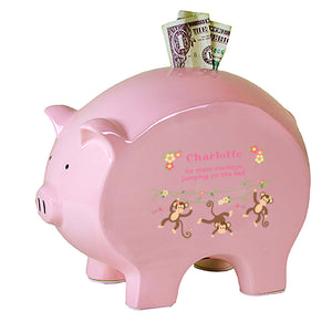 Personalized Pink Piggy Bank - Monkey Girl