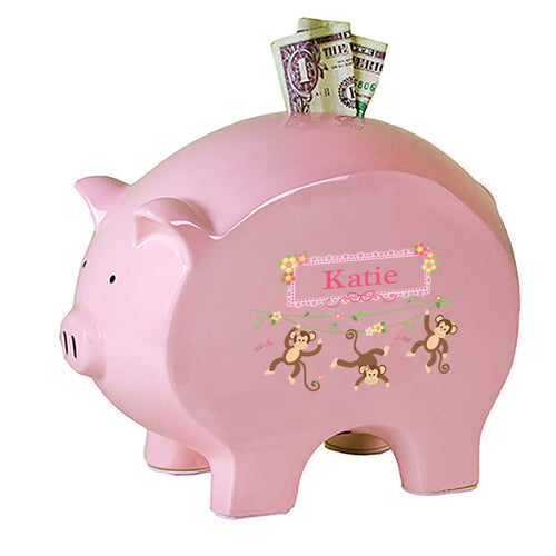 Personalized Pink Piggy Bank with Monkey Girl design