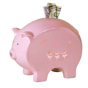Personalized Flat Red Hair Ballerina Piggy Bank