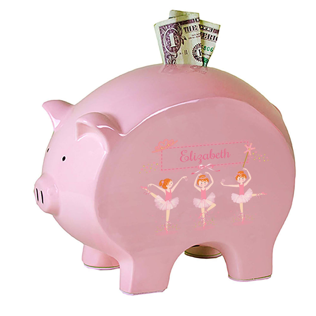 Personalized Pink Piggy Bank with Ballerina Red Hair design
