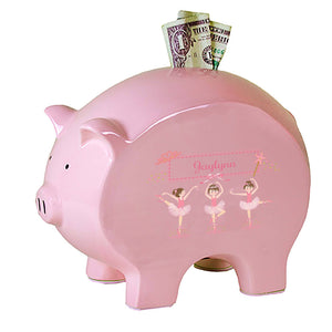 Personalized Pink Piggy Bank with Ballerina Brunette design