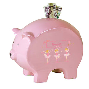 Personalized Pink Piggy Bank with Ballerina Blonde design