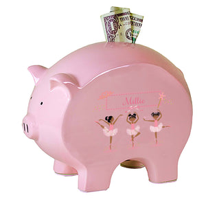 Personalized Pink Piggy Bank with Ballerina African American design
