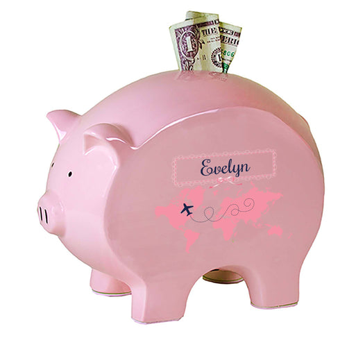 Personalized Pink Piggy Bank with World Map Pink design