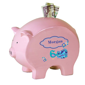 Personalized Pink Piggy Bank with Peacock design