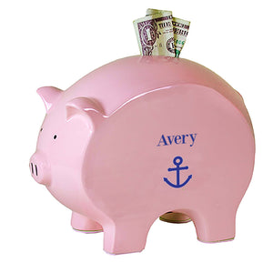 Personalized Pink Piggy Bank with Single Anchor design
