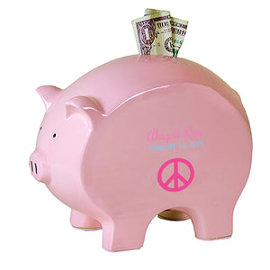 Personalized Flat Peace Sign Piggy Bank