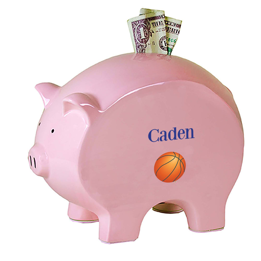 Personalized Pink Piggy Bank with Single Basketball design