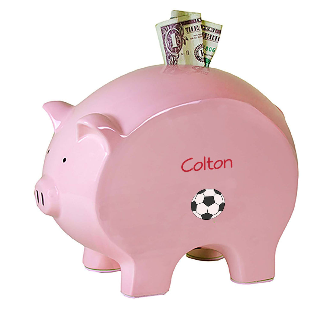 Personalized Pink Piggy Bank with Single Soccer design