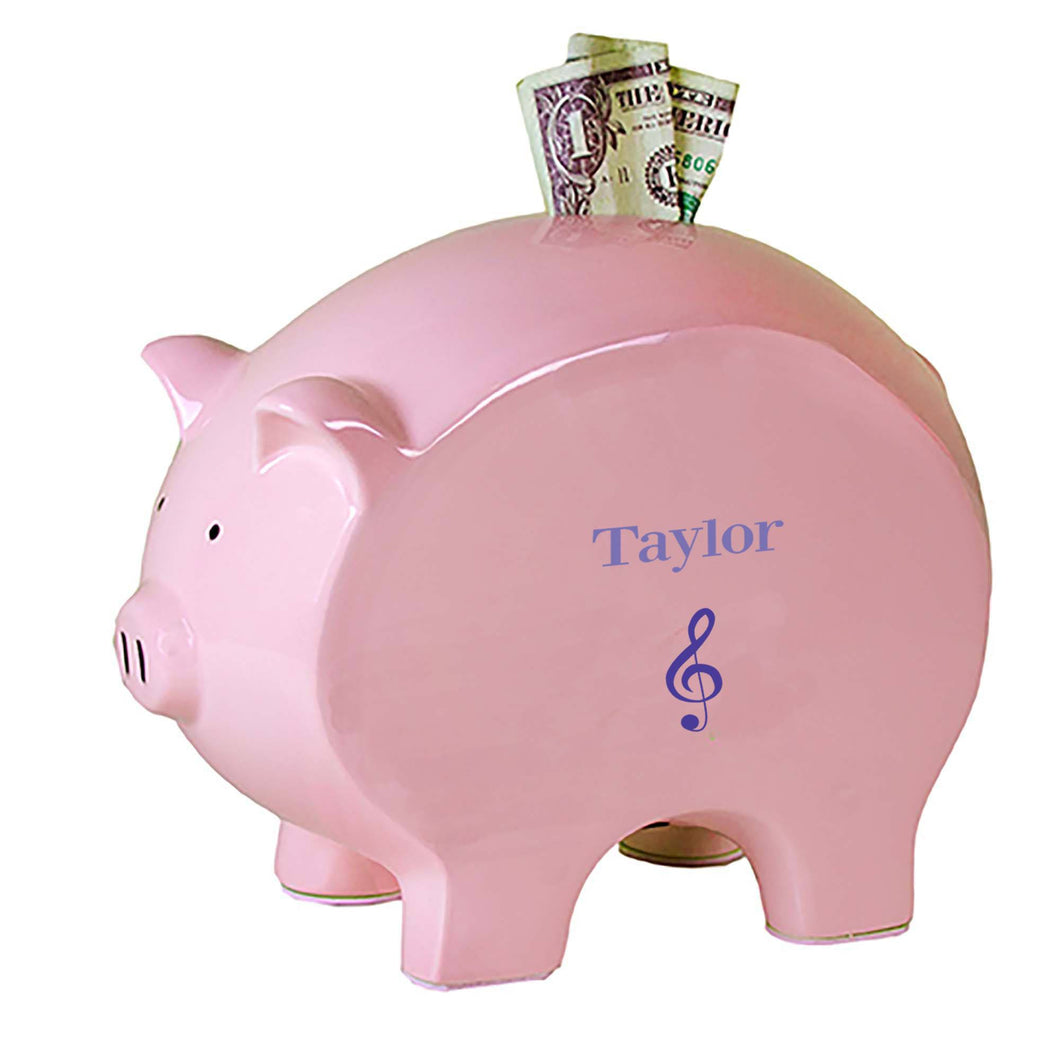 Personalized Pink Piggy Bank with Single Music design
