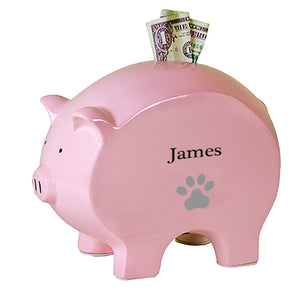 Personalized Pink Piggy Bank with Single Paw Print design