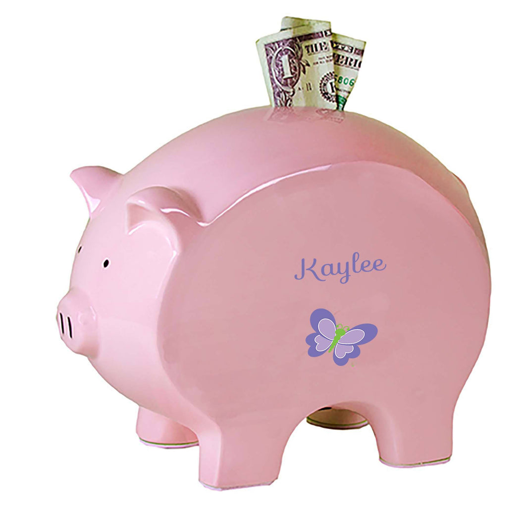 Personalized Pink Piggy Bank with Single Butterfly design