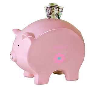 Personalized Pink Piggy Bank with Single Daisy design